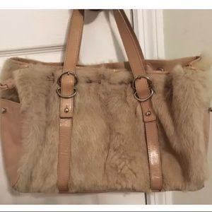 Kenneth Cole Rabbit Fur & Leather Hobo Bag Purse